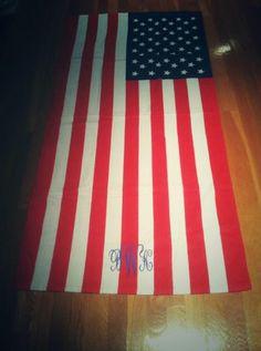 Monogrammed American Flag Beach Towel