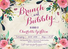 BRUNCH & BUBBLY INVITATION, Wine Invitation, Champagne Invitation, Bridal Shower Invitation, Watercolor Flowers Invitation, by MakinMemoriesOnPaper on Etsy https://www.etsy.com/listing/269857589/brunch-bubbly-invitation-wine-invitation