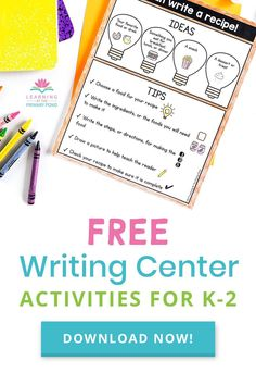 This FREE writing center activity is easy to set up and fun! Have your kids write recipes (for real or imagined dishes). It's a great review of their how-to / procedural writing skills...and also pretty entertaining to read what they write! Free Teaching Resources, Free Activities, Help Teaching, Teaching Writing, Kids Writing, Writing Activities, Writing Skills, Creative Writing, Writing Ideas