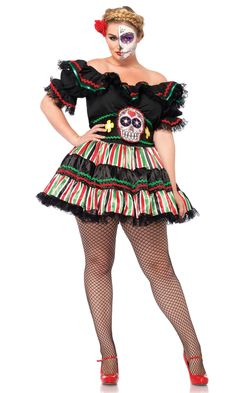 d54ccb61938 2 Pc. Plus Size Day Of The Dead Doll Sexy Costume