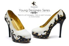 """Mahinhin at Galawgaw / Demure and Frolicsome by Isabel """"Iza"""" Berenguer custom shoes / hand painted / pumps Young Designers, Pumps, Heels, Custom Shoes, Peep Toe, Hand Painted, Fashion, Heel, Custom Tennis Shoes"""