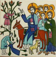 Art - Entry into Jerusalem - Ceramic tile from an unknown Armenian Artist