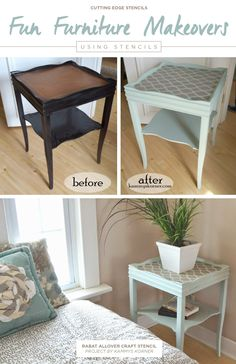 A DIY stenciled side table using the Rabat Craft Stencil. http://www.cuttingedgestencils.com/rabat-furniture-fabric-stencil.html