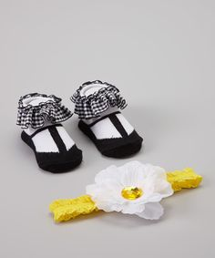 This Black & White Gingham Sock & Headband Set by Baby Essentials is perfect! #zulilyfinds