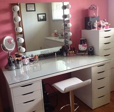 [gallery Makeup vanity chair is actually similar to bench for a bedroom vanity. It is commonly designed in small size that fits the vanity itself. Vanity Room, Vanity Decor, Diy Vanity, Vanity Ideas, White Vanity, Ikea Vanity Table, Glass Vanity, My New Room, My Room