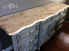 Master bedroom makeover including furniture refinishing and faux marble how-to.