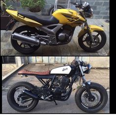 HONDA - Before & After - Cafe racer modification Cb 500 Cafe Racer, Suzuki Cafe Racer, Cafe Racer Bikes, Cafe Racer Build, Honda Cbx, Honda Scrambler, Cafe Racer Motorcycle, Moto Custom, Custom Bikes