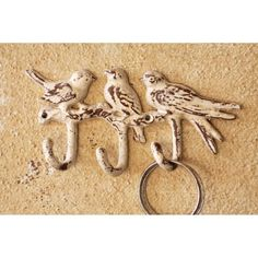 Find it at the Foundary - Antique Buttermilk Cast Iron Three Birds Hanger