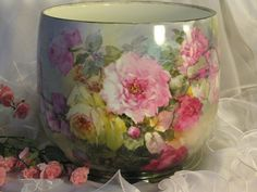 """""""BREATHTAKING ROSES"""" Massive FRENCH JARDINIERE PLANTER POT Gorgeous Antique Limoges France Hand Painted Victorian Treasure Collector Piece Master Artistry Franz A. Bischoff Franz B. Aulich Circa 1900"""