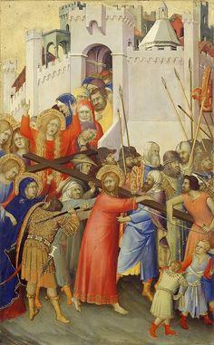 Simone Martini : le polyptyque Orsini : le portement de la croix. 1333. Tempera sur bois, 25 x 16cm. Paris, Musée du Louvre