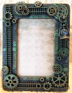Dimensional Train themed picture frame made for a feature spot on DecoArt's Media Blog. A complete pictorial of the steps and products used on this frame can be found on DecoArt's Mixed Media Blog.
