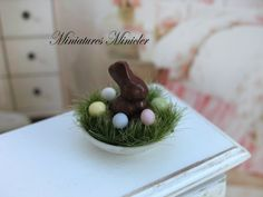 Dollhouse Miniature Easter Decoration With Choco Bunny And Eggs On The Green Seedlings by Minicler on Etsy