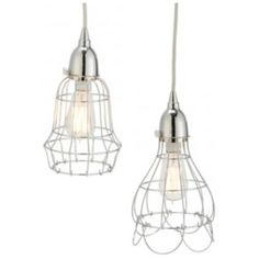 Wire rose and barrel pendant light in silver by Lazy Susan. The wire rose pendant light is shown on the right (Main Image) & in Image #3. Also available in Aged Bronze - View Here