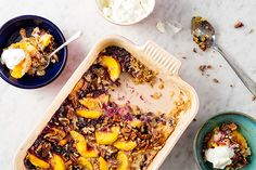 Homemade Dump Cake with Peaches, Blueberries, and Pecans