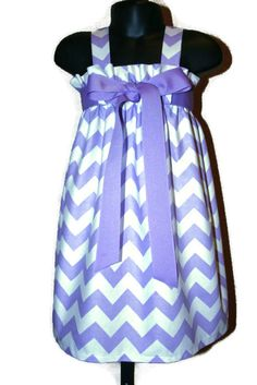 Zadee Dress - Lavender and White Chevron fabric by Riley Blake  - Choice of Ribbon Color