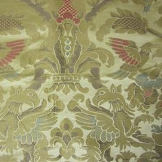 4 Yards 2die4 Golden Gothic Renaissance Brocade Upholstery/Drapery Fabric with Birds and Gargoyles