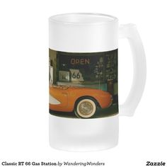 Classic RT 66 Gas Station 16 Oz Frosted Glass Beer Mug