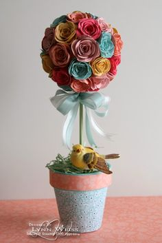LW Designs: Think Spring: Sweet Sorbet Topiary - Stampin' Up! Flower Ball, Flower Pots, Spring Projects, Craft Projects, Craft Ideas, Non Floral Centerpieces, Paper Crafts Origami, Paper Crafting, Paper Bouquet