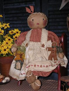 Primitive Olde Folk Art Gingerbread Doll*Prim Little Gingerbread Dollie* #NaivePrimitive #SharonHall