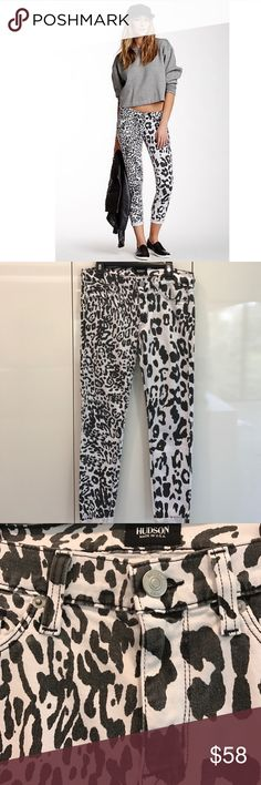 👖Hudson Corp Harkin Skinny with Cuff W&B Leopard Hudson Crop Harkin Supper Skinny with Cuff in White&Black Leopard print, very cute design  and casual style, easy to go with any outfits, super comfy to wear, perfect for parties/ weekends/ dinning out, barely weared in good condition 🎀🎀🎀                                                                                          👛👛👛No Trade, sorry 🛍🛍🛍                                           💰💰💰Bundle and Save💸💸💸 Hudson Jeans…
