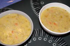 Potage velouté aux endives chicons + oignons + ail + pommes de terre + thym + sel et poivre = régal à servir avec fromage râpé <=> délicieux (octobre 2013)