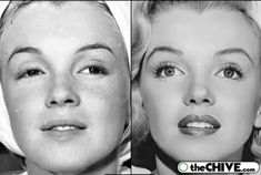 Marilyn Monroe before and after Makeup... Rare Photos