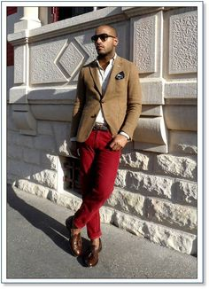Camel Blazer or Cardi + Red Trousers + Brown Shoes