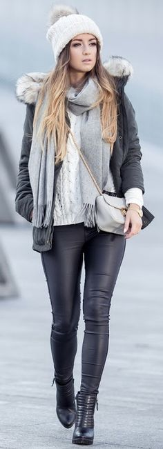 I have faux leather leggings and love this look for them (minus the ball on the hat)