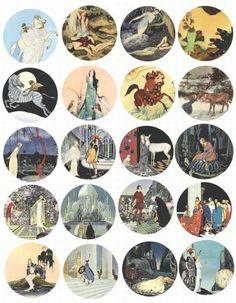 Princess knights cenatur pegasus fairytale fantasy clip art collage sheet 2 inch circles>