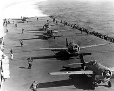A group of F4f Wildcats ready to take off from the USS Hornet during the Battle of Midway (June 2, 1942), one of those battles that can be said to have changed the course of history.