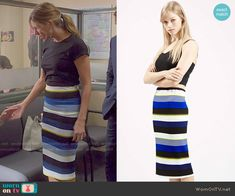Josslyn's blue striped tube skirt on Mistresses.  Outfit Details: http://wornontv.net/50960/ #Mistresses