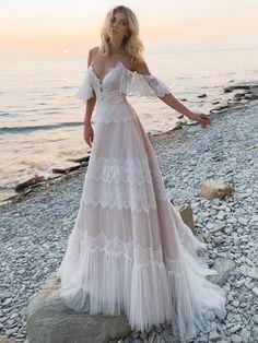 Bohemian Wedding Dresses, Dream Wedding Dresses, Bridal Dresses, Bohemian Style Wedding Dresses, Bohemian Beach Wedding, Boho Bride, V Neck Wedding Dress, Cold Shoulder Wedding Dress, Gown Wedding