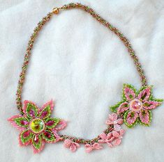 Rivoli Crystal Beadwoven Necklace Pink Coral by SpringColors