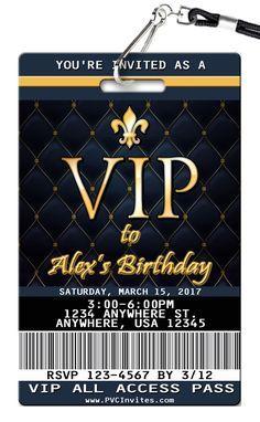 Rose Gold VIP Pass Birthday Invitations printed on Plastic VIP Badges! 21st Birthday Invitations, 18th Birthday Party, Sweet 16 Invitations, Sweet 16 Birthday, Party Invitations, Birthday Banners, Farm Birthday, Birthday Ideas, Vip Pass