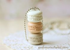 Macaron Jewelry - Trio Macarons Necklace - Milk and Honey - Gift For Her. $25.90, via Etsy.