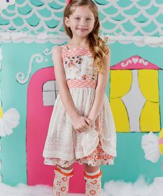 Take a look at this Matilda Jane Clothing White & Pink Spiced Clove A-Line Dress - Toddler & Girls today! 34.99