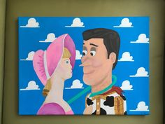 Gift for my roommate! Toy Story portrait. Woody and Bo Peep. Toy Story 2 scene acrylic painting on canvas