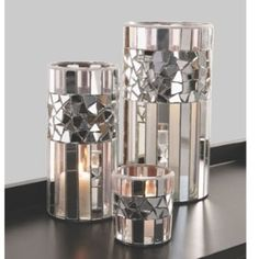 Silver Mirrored Mosaic Candle holders, beautiful.