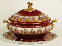 PORCELAIN TUREEN, COVER AND STAND German.