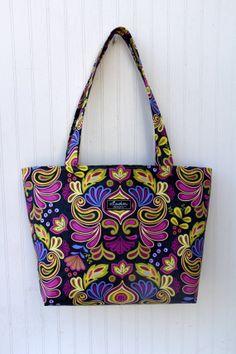 Indigo Damask Boxy Tote Bag by ElisaLou on Etsy, $70.00