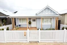 The Block series 13 front facade and garden reveals - The Interiors Addict Weatherboard House, Queenslander, Wombat, Front Verandah, California Bungalow, Front Gardens, House Paint Exterior, Exterior Houses, Cottage Exterior