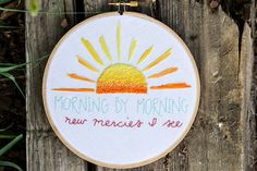 Morning by Morning / Hymn Hoop / Hymn Art / Hand by SweetAddieBeth. $28 - click to see more details!