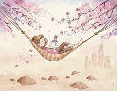 Dream Big: Nursery Art Print - Children's Art - Home Decor - hammock - cherry tree - flowers - 8 X 10