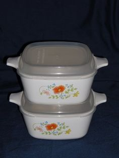 2 Pair Of Corning Ware  Wildflower  Wild Flower  700ml Casseroles w Plastic Lids  P43B USA * You can get additional details at the image link.