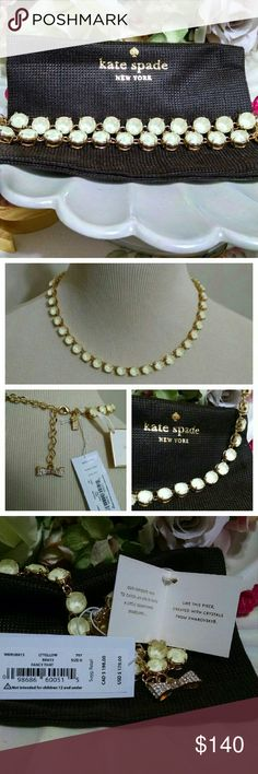 """Kate Spade """"Fancy That"""" Swarovski Crystal Necklace So feminine! BNWT! Light lemonade yellow crystals adorn this gold tone necklace with the cutest closure in the back! A wonderful addition to your jewelry box! Includes dust bag. 17"""" with 3"""" extender. Open to offers! kate spade Jewelry Necklaces"""