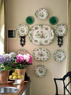 p Hang Plates On Wall, Plate Wall Decor, Hanging Plates, Vintage Plates, Vintage China, Vintage Pyrex, Maggie Griffin, Plate Collage, Wall Groupings