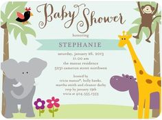 Sunny Safari - Baby Shower Invitations in Aloe | simplyput by Ashley Woodman $67.00 for 50 invitations at www.tinyprints.com
