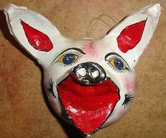 Vintage Mexican Coconut Mask, white pig with big ears