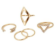 f5d95e7001c8 JUNGEN Moda Anillos de plata de nina anillo círculo 5 Piezas Dorado