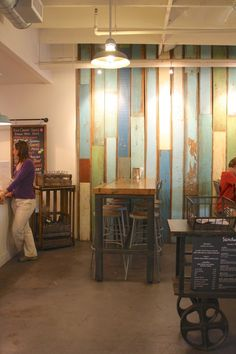 Colorful Barn Wood Paneling.  Blue, Turquoise, Green.  Rustic.  Shop Lighting.  Leoda's Kitchen and Pie Shop